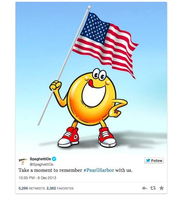 SpaghettiOs Pearl Harbor Tweet