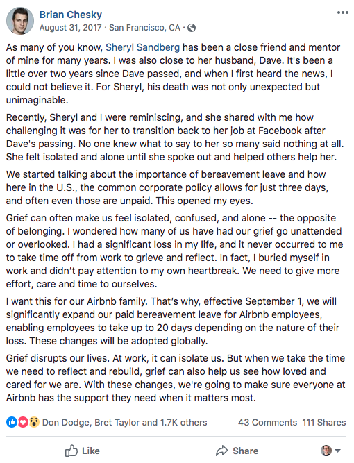 Brian Chesky Facebook Post Example