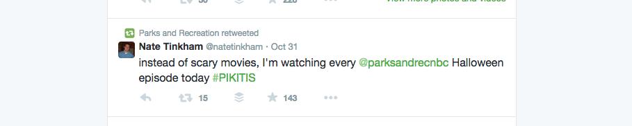 Parks and Rec Fan Tweet