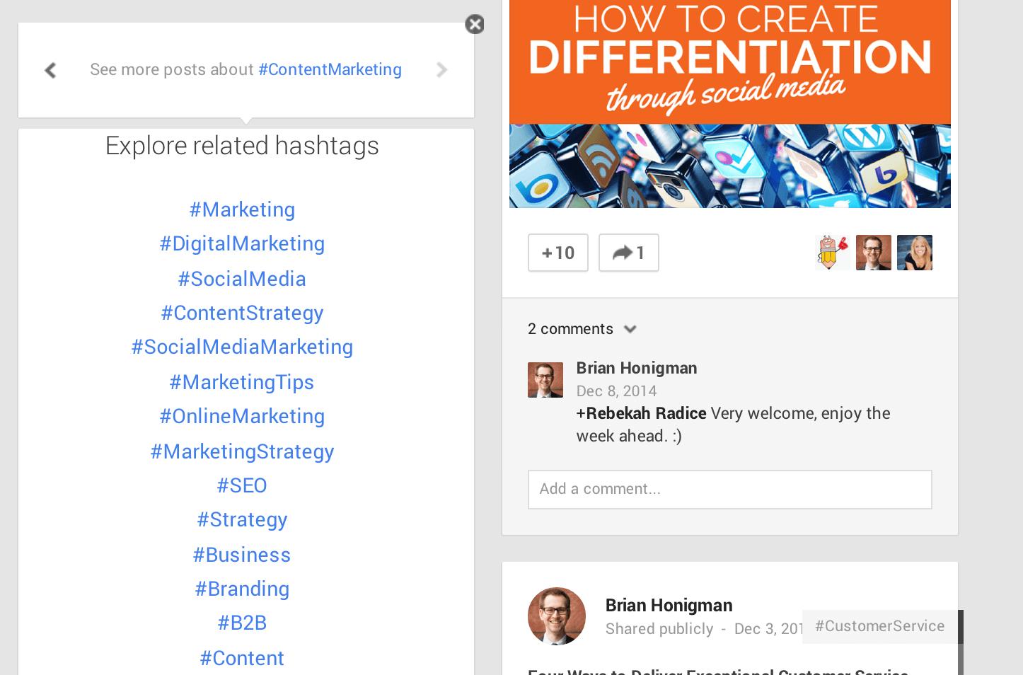 Google+ Hashtags Image