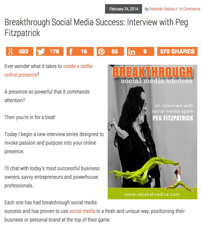 Peg Fitzpartick Rebekah Radice Interview