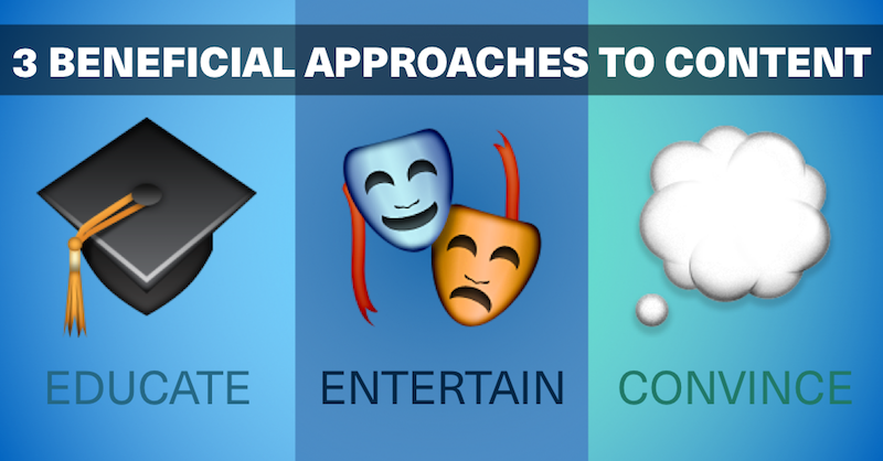Educate, Entertain or Convince: Three Beneficial Approaches to Content via brianhonigman.com