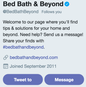 Bed Bath and Beyond Twitter Profile