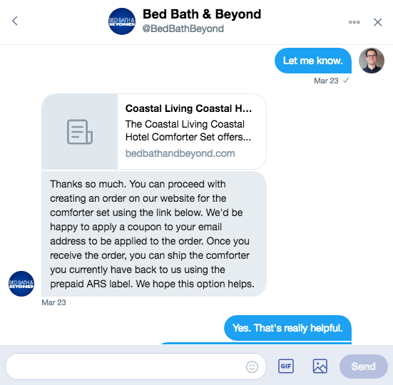Bedbath and Beyond Twitter Example