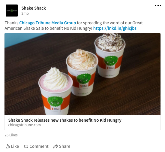 Shake Shack LinkedIn Example
