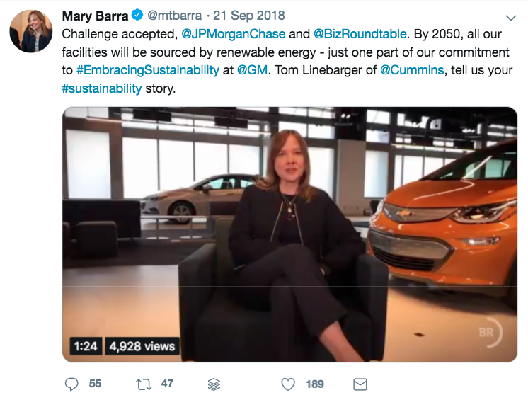 Mary Barra Twitter Example